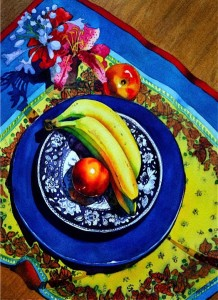 Fruit on a Blue Plate